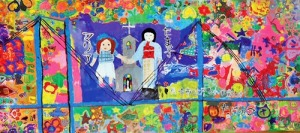"""World Peace from Nagasaki Megami Bridge: Tamako and Maria"" by 47 children of 175 members of Club Kids Peace in Tomachi Elementary School."