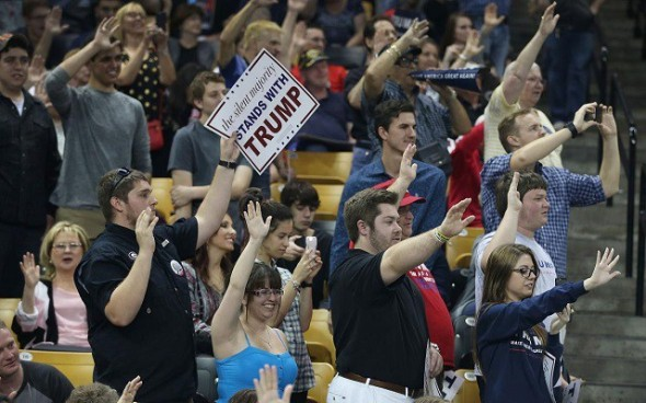Probably nothing to worry about: People raise arms pledging to vote for Trump at the University of Central Florida on March 5, 2016 in Orlando (h/t Slate) Joe Raedle/Getty Images
