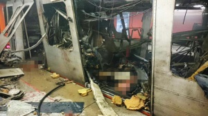Metro train after Brussels attack
