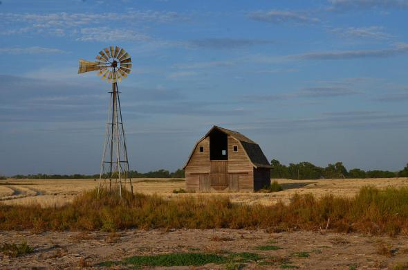 Kansas barn and windmill, by Dan Heddon