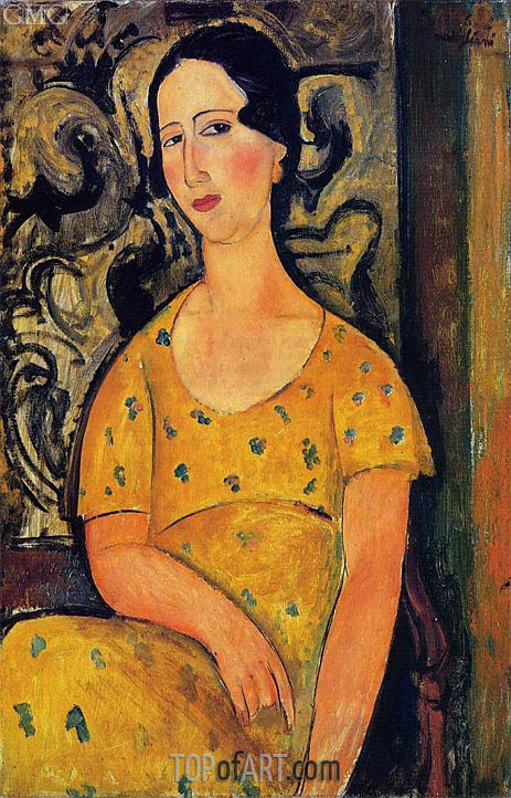 modigliani young woman in a yellow dress