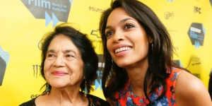 "Rosario Dawson, right, and Dolores Huerta arrive  at the north american premiere of  the film ""Cesar Chavez"" during the SXSW Film Festival on Monday, March 10, 2014 in Austin, Texas. (Photo by Jack Plunkett/Invision/AP)"