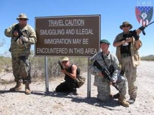 "Militia members ""guarding"" the Texas border."