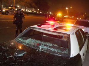 Costa Mesa police car wrecked by anti-Trump protesters