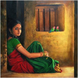 Oil painting by Indian artist Ilayaraja