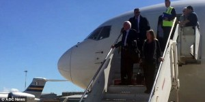 Bernie and Jane Sanders disembark from chartered Delta 767 in Rome.