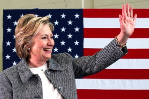 U.S. Democratic presidential candidate Hillary Clinton waves after leading a discussion on gun violence prevention at the Wilson-Gray YMCA in Hartford, Connecticut, U.S., April 21, 2016. REUTERS/Adrees Latif