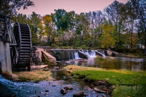 Old water wheel at the gristmill in Old Madison, in Southern Indiana