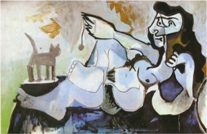 Pablo Picasso, Reclining female nude playing with a cat