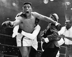 Ali during the championship fight with Sonny Liston