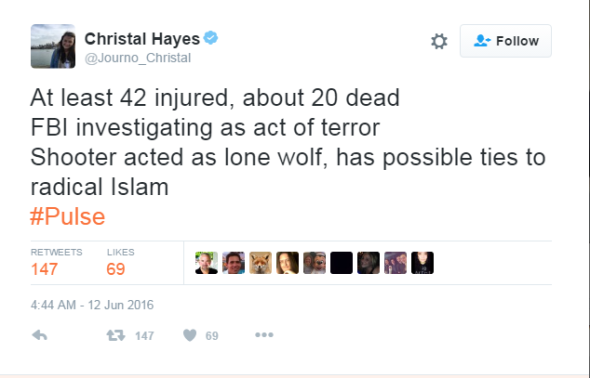 Christal Hayes on Twitter At least 42 injured about 20 dead FBI investigating as act of terror Shooter acted as lone wolf has possible ties to radical Islam Pulse