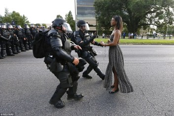 Ieshia Evans prior to her arrest on Saturday in Baton Rouge.July 9, 2016. (Jonathan Bachman/Reuters)