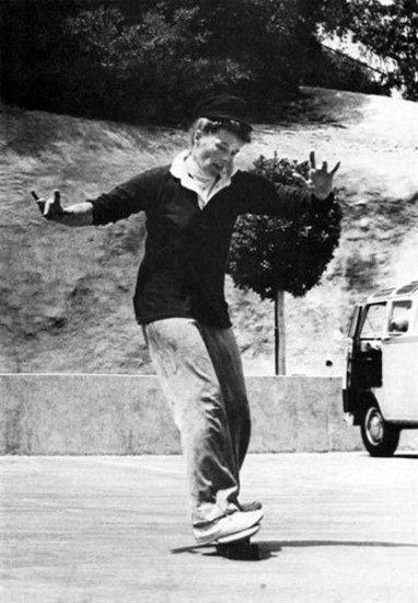 Katharine Hepburn skateboarding