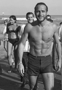 Paul Newman at the beach, 1963