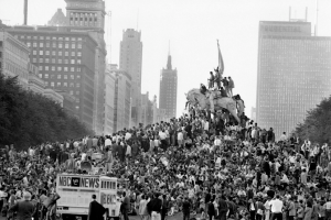 Protesters forming a human pyramid in Chicago's Grant Park during the 1968 Democratic Convention