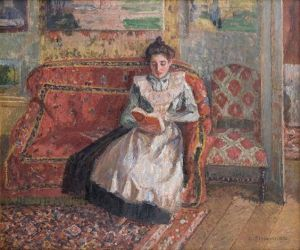 Cocotte, reading, by Camille Pissarro