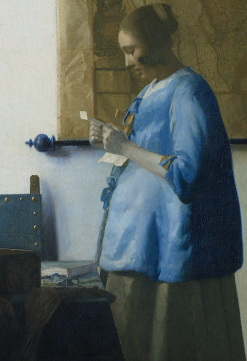Woman in blue reading a letter, Johannes Vermeer