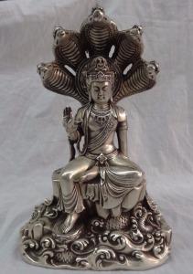 liuchao21-12-Tibet-Buddhist-Joss-Silver-5-Snake-Head-Naga-Kanya-Shakyamuni-Buddha-Statue