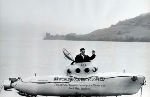 Travel.Scotland, Oddities. pic: June 1969. American submarine expert Dan Taylor sits in the cockpit of his 20 foot submarine at Loch Ness, where he will go underwater to search for the Loch Ness Monster. PPP