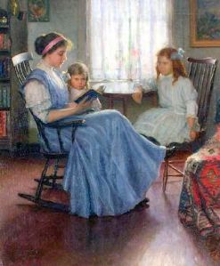 Mother reading with two girls, Lee Lufkin Kaula