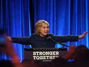 Hillary Clinton at last night's LGBT for Hillary gala.