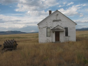 Photo of abandoned one-room schoolhouse