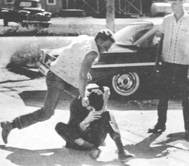 Tom Hayden, beaten by white segregationists in McComb, MS, October 1961