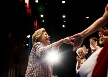 Hillary Clinton greets supporters Friday at the Sunrise Theatre in Fort Pierce, Fla. (Melina Mara/The Washington Post)