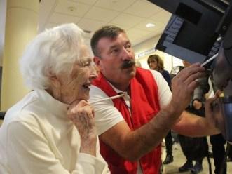 100-year-old Gertrude Gottschalk of Carson City, NV, casts her ballot. for Hillary.