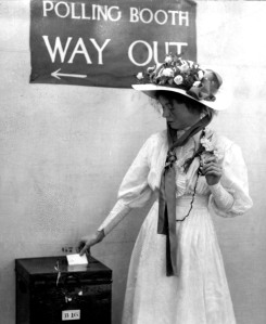 Suffragette Emmeline Pankhurst in a Polling Booth circa 1910. She was one of the leaders of the movement to secure votes for women.