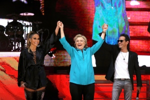 Hillary at concert with Jennifer Lopez and Marc Anthony in Miami