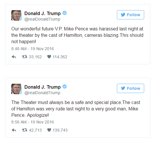 pence-says-he-wasnt-offended-by-hamilton-as-trump-continues-to-demand-an-apology-the-washington-post
