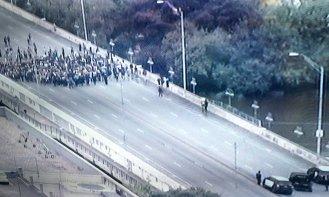 UT students block bridge in Austin, TX
