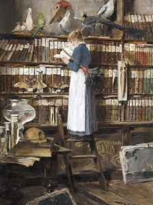 Maid reading in a library, Edouard John Mentha