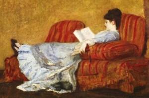 Young lady reading, Mary Cassatt