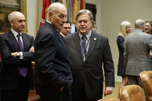 John Kelly and Steve Bannon in the foreground