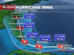 A projection of the path Hurricane Irma will take as of 5 a.m. on Thursday, Sept. 7,2017.