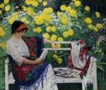 Reading in the garden, 1915 – NikolayBogdanov-Belsky