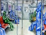 Subway Train Watercolor painting, ShyamaGolden