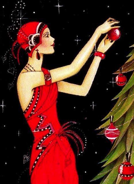 Vintage Christmas Cards Sky Dancing