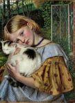 A Girl with a Cat – Robert Braithwaite Martineau, 1860 British painter1826-1869