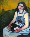By Suzanne Valadon (French, 1865-1938) Jeune Fille au Chat