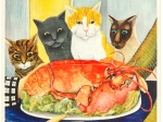 Beryl-Cook-Cats-Eyeing-a-Lobster-1977