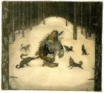 Wolves circle a troll, JohnBauer