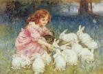 feeding White Rabbits, FrederickMorgan