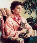 Rita Mae Brown with her cat