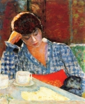 Pierre_Bonnard_Woman_Leaning_with_Dog_and_Still_Life_1917