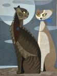tomoo-inagaki woodcut cats inmoonlight