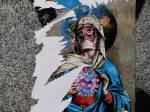 Virgin Mary wearing a mask, Street art in Spain. GABRIEL BOUYS,Getty