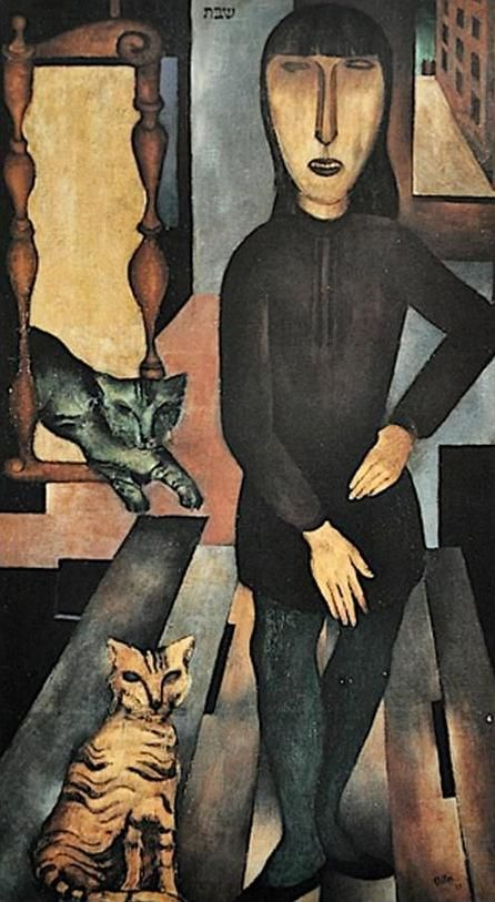 Jankel Adler, woman and two cats